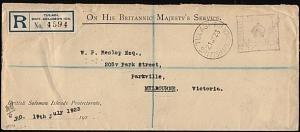 SOLOMON IS 1923 Official reg cover ex Tulagi, boxed Crown Paid.............18291