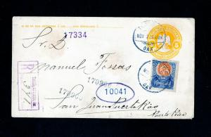 Puerto Rico Cover Registered w/ Stamps 1909 from Mexico to PR