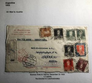 1932 Buenos Aires Argentina Airmail Commercial Cover To Vienna Austria