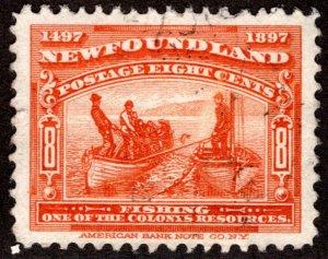 58, NSSC, Newfoundland, 8c red orange, fishing, VF, Used,postage stamp