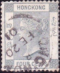 HONG KONG 1896 QV 4c Slate-Grey SG34 Used