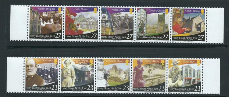 Isle of Man MUH SG 1091 - 1100  2 se-tenant margin strips...