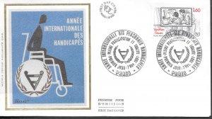 FR327  France 1981 internationale handicapes   SILK FDC $4.00
