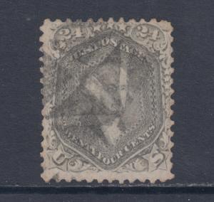 US Sc 78b used 1862 24c gray Washington w/ Negative X Fancy Cancel