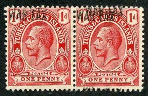 Turks and Caicos SG143h 1917 1d red WAR TAX R/H stamp ERROR OPT DOUBLE at TOP