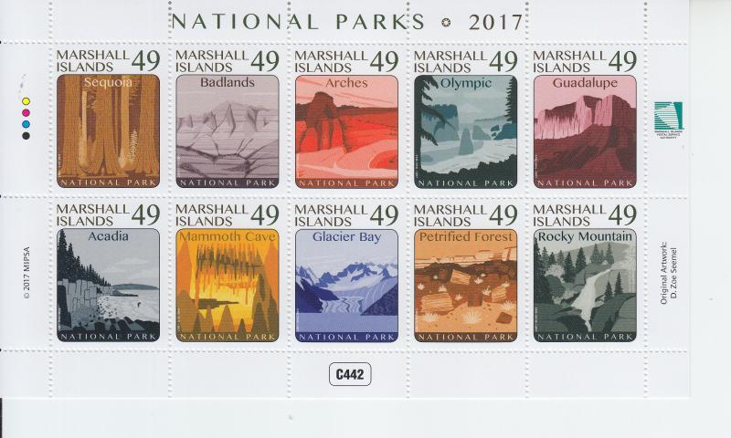 2017 Marshall Islands National Parks MS10 (Scott NA) MNH