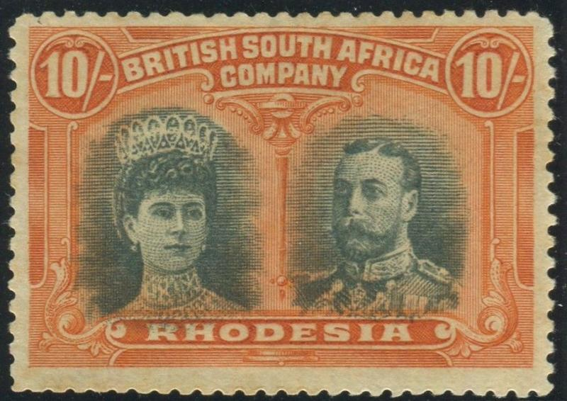 RHODESIA-1910-13 10/- Blue-Green & Orange. A mounted mint example Sg 164