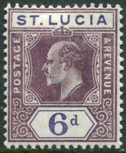 ST LUCIA-1905 6d Dull Purple & Violet Sg 72 LIGHTLY MOUNTED MINT V49019