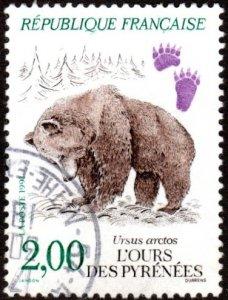 France 2261 - Used - 2fr Brown Bear (1991) (cv $0.55)