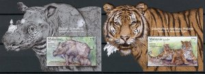 Malaysia Stamps 2019 MNH Wildlife Conservation Tigers Rhinos Animals 2x 1v M/S