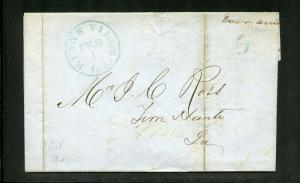 UNITED STATES 1851 EVANS VILLE IND STAMPLESS COVER 5c BLUE PAID CONTAINS INVOICE