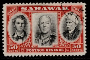 SARAWAK GVI SG148, 50c black & scarlet, FINE USED.