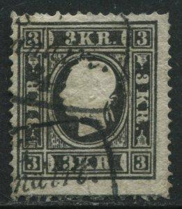 Austria 1858 3 kreuzers black Type 2 used