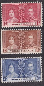 Virgin Islands # 73-75, King George VI Coronation. Hinged. 1/2 of Hinged