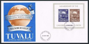 Tuvalu 165a sheet,FDC.Michel Bl.6. Admission to UPU 1981.