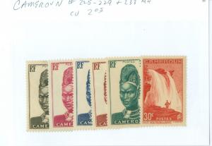 Cameroon 225-9 & #233 MH CV$2.05