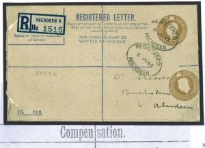 359d 1945 GB POSTAL STATIONERY ERROR Registered RP54 Variety DOUBLE DIE Aberdeen