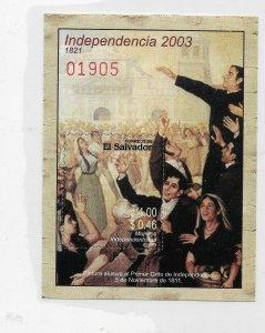 EL SALVADOR 2003 INDEPENDENCE, ART PAINTING, SOUVENIR SHEET MNH