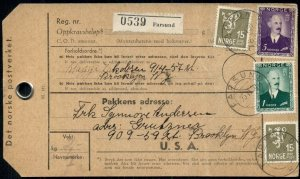 NORWAY 1950 PARCEL CARD MULTI FRANKED WITH 6.3 KR POSTAGE, NICE