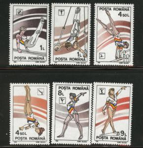 ROMANIA Scott 3652-7 MNH** Gymnastics set 1991
