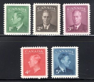 Scott 284-288, Set, MNHOG, VF, King George VI with Posted-Postage Canada