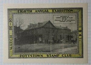 Pottstown Stamp Club 1941 Exhibition Philatelic Souvenr Ad Label