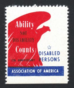 USA POSTER STAMP 12TH ANNIVERSARY DISABLED PERSONS ASSOCIATION