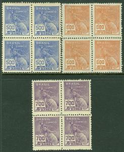 EDW1949SELL : BRAZIL 1929 Scott #254-56 Blocks of 4. VF, Mint NH. Catalog $154+