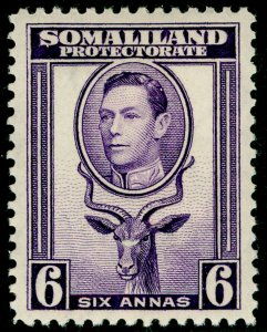 SOMALILAND PROTECTORATE SG98, 6a violet, LH MINT. Cat £16.