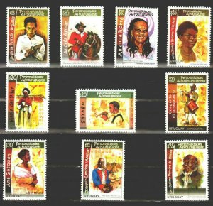 BLACK HERITAGE SLAVE LIBERTY WOMAN RIGHTS URUGUAY complete series MNH STAMP