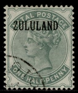 SOUTH AFRICA - Zululand QV SG13, ½d dull green, FINE USED. Cat £50. WITHOUT STOP