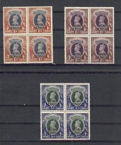India (Patiala), O74-76, Overprinted Blocks (4), **MNH**