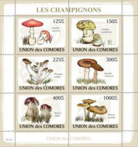 Comoro Islands MNH S/S Mushrooms Fungi 2009 6 Stamps