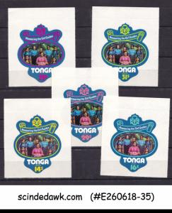 TONGA - 1974 GIRL GUIDES BADGES / GIRL SCOUTS 5V SELF ADHESIVE MNH