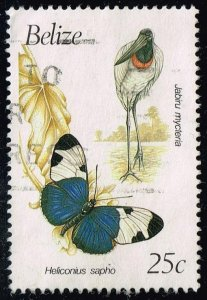 Belize #935 Stork and Butterfly; Used (4Stars)