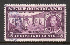 Newfoundland 1937 KGVI Coronation 48c Ships perf 13½ (line) SG 267c used