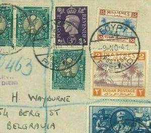 Egypt GB SUDAN S.AFRICA Cover TRIPLE MIXED WW2 FRANKING 1941 Allied Forces MC5