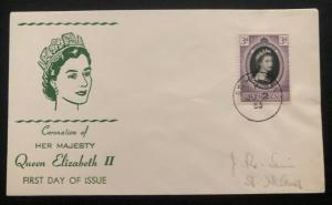1953 St Helena First Day Cover QE2 Queen Elizabeth coronation Domestic Used