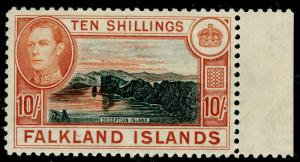 FALKLAND ISLANDS SG162b, 10s black & red-orange, NH MINT. Cat £120.