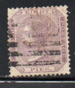 India Sc 19 1860 8 pies lilac Victoria stamp used