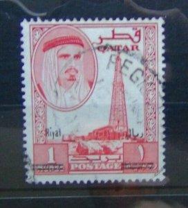 Qatar 1966 1r on 1r Red SG148 Fine Used