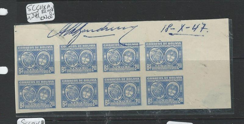 BOLIVIA (P0606B) A/M  SCC118A IMPERF BL OF 8, PRINTERS NOTES AT TOP   MNH