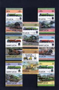 Saint  Lucia  Sc# 617-624 Trains-Locomotives (16) SPECIMEN