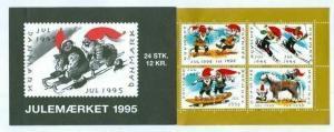 Denmark.  Booklet 1995  Christmas Seals Mnh.  Santas Have Fun. Horse