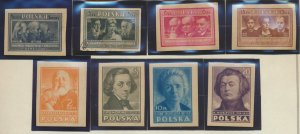 Poland Stamps Scott #405 To 412, Mint Never Hinged, #408 Used, Imperforate Set
