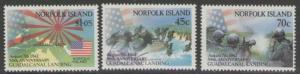 NORFOLK ISLAND SG534/6 1992 BATTLE OF GUADAICANAL MNH