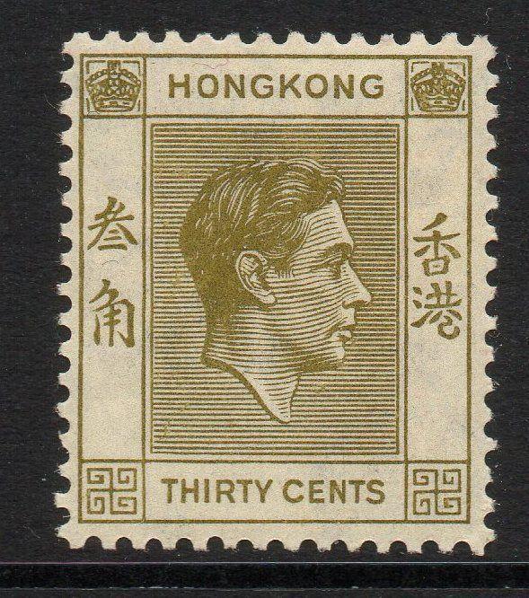 HONG KONG SG151 1938 30c YELLOW-OLIVE MTD MINT