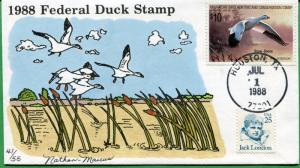 US #RW55 Hand Painted Duck First Day Cover 07/01/88 - Nathan Marcus - S8175