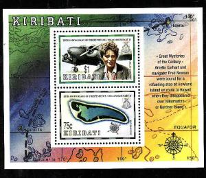 Kiribati-Sc#745a-Unused NH sheet-Independence-Maps-Planes-Amelia Earhart-1999-