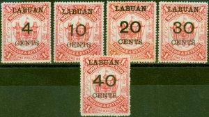 Labuan 1895 Set of 5 SG75-79 Good to Fine Mtd Mint